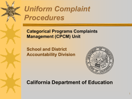 Uniform Complaint Procedures Presentation