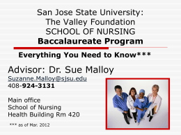 San Jose State University SCHOOL OF NURSING …