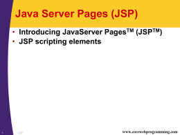 CWP: JavaServer Pages - University of Southern California