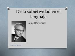 De la subjetividad en el lenguaje