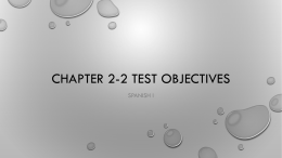 Chapter 2-2 test objectives
