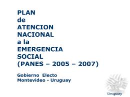 PLAN NACIONAL PARA LA EMERGENCIA SOCIAL