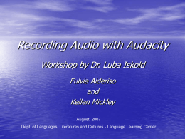 AUDACITY WORKSHOP - Muhlenberg College