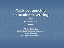 Task sequencing in academic writing