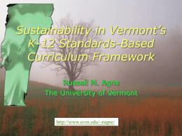 PowerPoint Presentation - Sustainability in Vermont's K