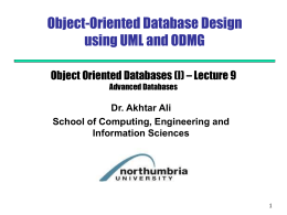Database Design using UML - Computing at Northumbria