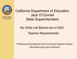 NCLB Teacher Requirements - Improving Teacher Quality …
