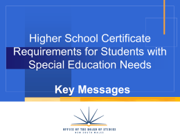 HSC Requirements for Students with Special Education …