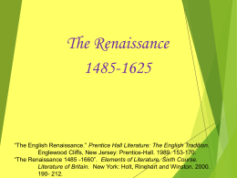Renaissance Literature: Poetry