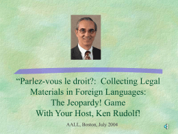 'Parlez-vous le droit?: Collecting Legal Materials in