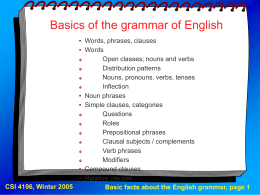 Class Notes # 10a: Review of English Language