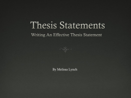 Thesis Statements - MVLA Technical Difficulty