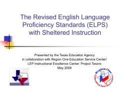 The Revised English Language Proficiency Standards …