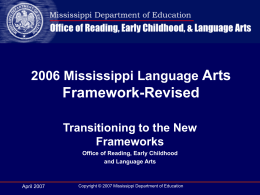 Mississippi Language Arts Framework