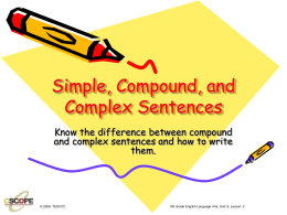 Simple, Compound, and Complex Sentences (Lesson 4)