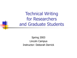 Technical Writing Seminar for Researchers and Graduate