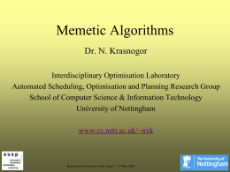 Recent Advances in Memetic Algorithms