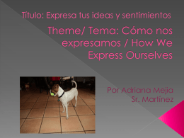 Theme: como nos expresamos/ how we express ourselfs