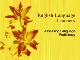English Language Learners - University of Nevada, Las Vegas