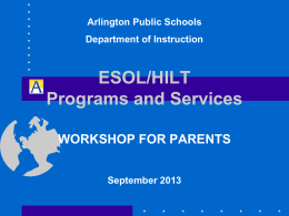 State Tests for ESOL/HILT Students