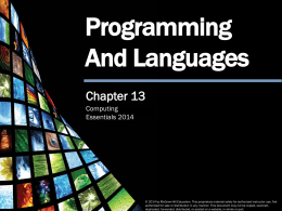 Programming Languages - Lane Community College