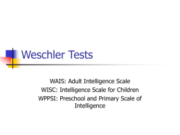 Weschler Tests