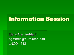 Information Session - Home - Department of Languages …