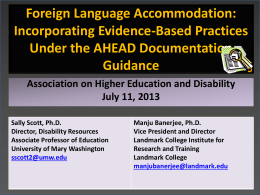 Determining Commonly Requested Accommodations: …