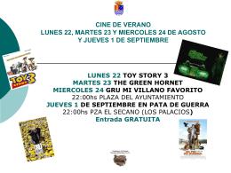 CINE DE VERANO LUNES 22, MARTES 23 Y MIERCOLES 24 …