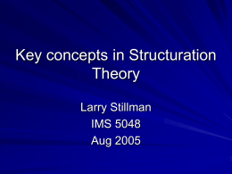 Key concepts in Structuration Theory
