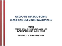 TALLER DE LOS CLASIFICADORES INTERNACIONALES/GTI