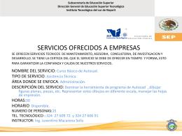 SERVICIOS OFRECIDOS A EMPRESAS SE OFRECEN …