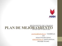 PLAN DE MEJORAMIENTO - ASDI Portal Educativo