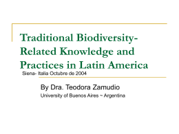 Traditional Biodiversity-Related Knowledge and …