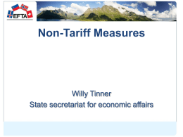 Standards in the EFTA States Technical Barriers to Trade