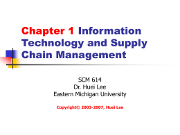 Chapter 1 Information Technology and Supply Chain