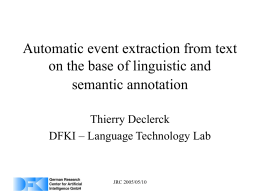 Automatic event extraction from text on the base of