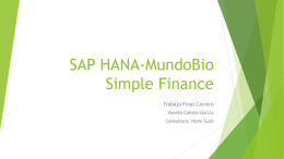 SAP HANA-MundoBio Simple Finances