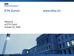 Welcome to ETH Zurich