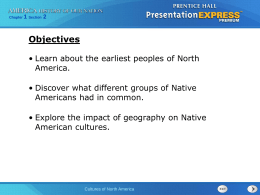 Cultures of North America - Epiphany Catholic School