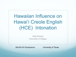 Hawaiian Influence on HCE Intonation
