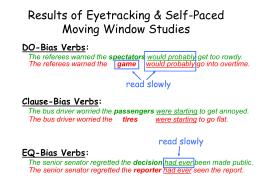 Ferreira & Clifton's Sentences