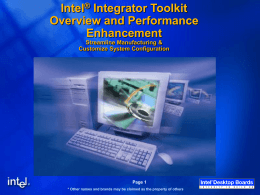 Intel Integrator Toolkit Overview