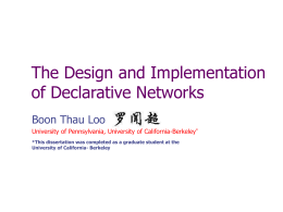 Declarative Networking: Language, Execution, Optimizations