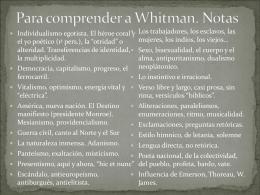 Para comprender a Whitman. Notas
