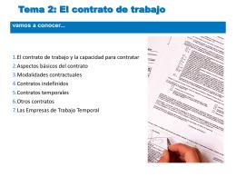 Tema 2: El contrato de trabajo