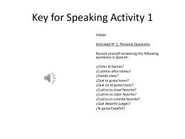 Key for Speaking Activity 1