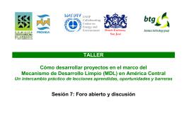 Foro abierto y discusion, Taller MDL, San Salvador, marzo …