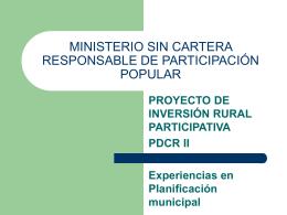 MINISTERIO SIN CARTERA RESPONSABLE DE …