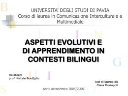 UNIVERSITA' DEGLI STUDI DI PAVIA Corso di laurea in
